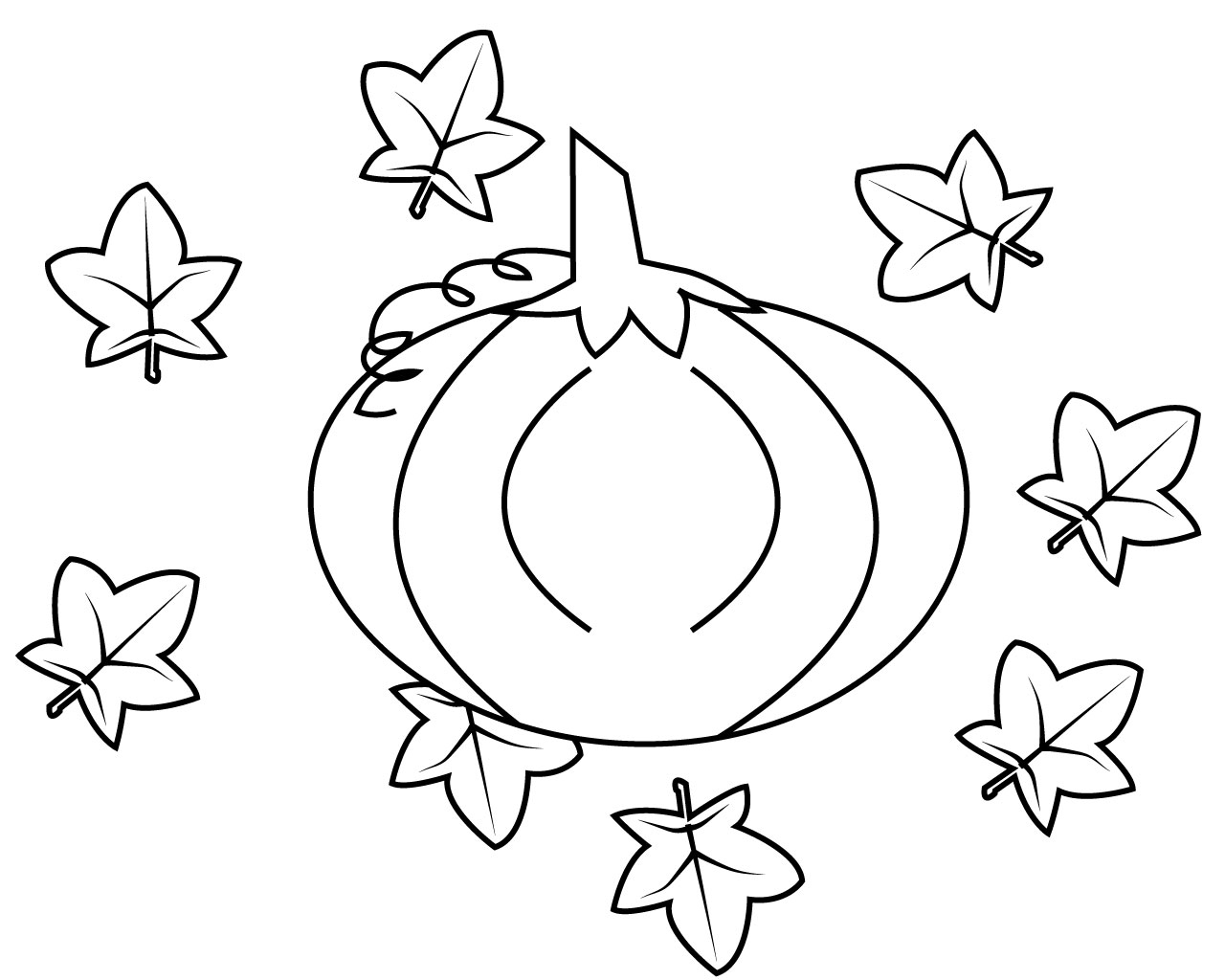 pumpkin and leaves coloring pages - photo#5