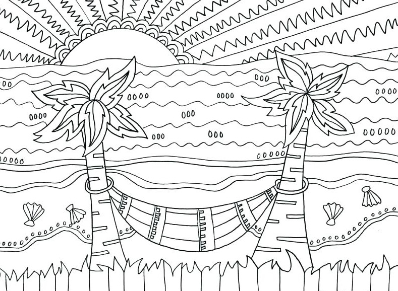 Beach Coloring Pages - Beach Scenes & Activities | Beach coloring ... | 578x789